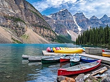 Beautiful Scene in one of the Rocky Mountain Lakes - Moraine Lake, Banff