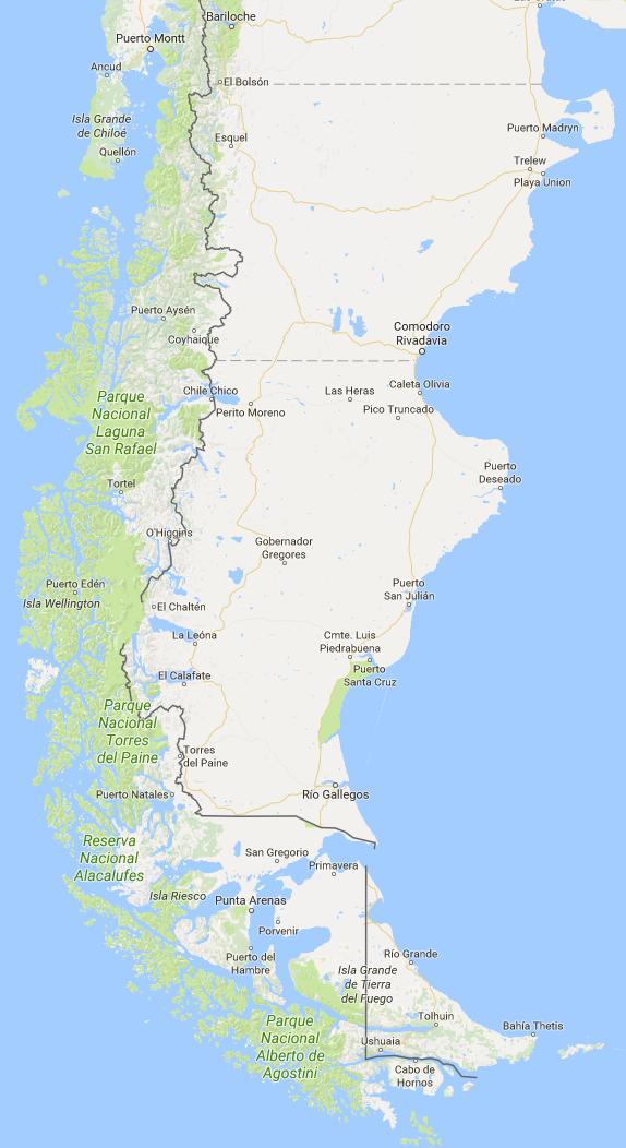 patagonien karte Karte Patagoniens   .islandspezialisten.de